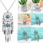 Retro Boho Dream Catcher Turquoise Feather Pendant Tassel Chain Necklace Jewelry