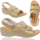 Ladies Ankle Touch Strap Summer Women Wedge Heel Sandal Open Toe Beach Slippers