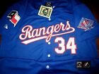 Brand New! Texas Rangers #34 Nolan Ryan Dual Patch Stitched Blue Majestic Jersey