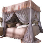 Princess 4 Corner Post Bed Curtain Canopy Mosquito Net Twin Full Queen King image