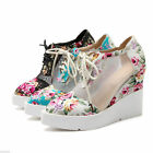 Women's Wedge Pointed Shoes Sandals Lace-up Floral Ankle Boots Size 34~42