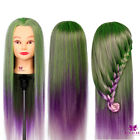 Style Colorful Hair Training Head Hairdressing Practice Mannequin Doll + Clamp