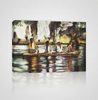 Four Ladies on a Boat on the Amazon River Brazil Framed Canvas Print - YC19