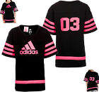 Adidas Girls Wide Fit 03 Tee T-Shirt Top  Black Bright Pink Ribbon New Sealed