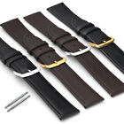 Gents Ladies Watch Strap Smooth Grain Genuine Leather Black or Dark Brown