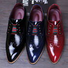 Mens Pointy Toe Brogue PU Leather Slip on Dress Formal Wedding Business Shoes