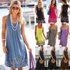 UK Boho Womens Floral Summer Beach Wear Sundress Ladies Cover UP Dress Plus Size