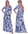 Summer Maxi Dress for Evening Party Sweetheart Neckline Blue White Floral