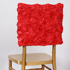 2 Dozen 24 CHAIR COVERS SQUARE TOP CAPS with RIBBON ROSES Party Wedding Catering