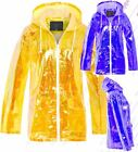 Womens Holographic Rain Mac Waterproof Raincoat Mustard Jacket Size 8 - 16