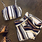 UK Women Striped Jumpsuit Bandage Rompers Co Ord Set Beach 2PCS Matching Outfit