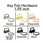 10 Key Fob Hardware w/ Key Rings Sets - 1.25 Inch (32mm) - Pick From 5 Finishes