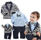 Baby Boy Wedding Christening Formal Blue Tuxedo Suit Outfit Clothes+Jacket Set