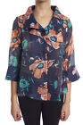 Damee Navy/Coral Floral Print Sheer Jacket #2172 New Season Wired Collar