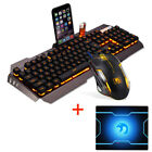 US New Wired Rainbow Backlit Usb Ergonomic Gaming Keyboard + PC Gamer Mouse Sets