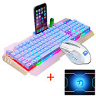 New Wired Rainbow Backlit Usb Ergonomic Gaming Keyboard + PC Gamer Mouse Sets