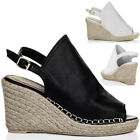 Womens Open Peep Toe Wedge Heel Espadrille Sandals Pumps Shoes Sz 5-10