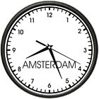 AMSTERDAM TIME Wall Clock world time zone clock office business