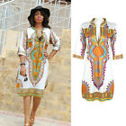 Women Dashiki Dresses Traditional African Dress Clothing V Neck White + Yellow