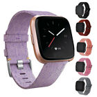 US Woven Fabric Wrist Strap Watch Band w/ Classic Square Buckle for Fitbit Versa image