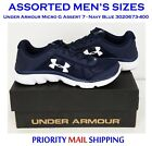 Under Armour Micro G Assert 7 Mens Running Shoes Sneakers Astd Szs Navy Blue NIB