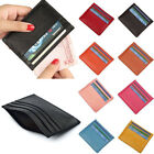 US Stock Mens Womens Leather Small ID Credit Card Wallet Holder Slim Pocket Case image