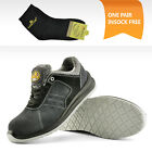 Safetoe Safety Shoes Mens Work Sports Light Weight Steel Toe Hiking Grey Leather