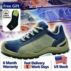 Safetoe Blue Leather Safety Shoes Steel Toe Breathable Extra Wide L 7295 US Size