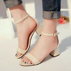 WOMENS FASHION BLOCK LOW HEEL PEEP TOE LADIES BUCKLE ANKLE STRAP SANDALS SHOES V