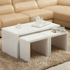 High Gloss White Coffee Table Side/End Table Set of 2 Living Room Bedroom