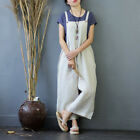 Womens Linen Cotton Retro Casual Wide Leg Rompers Cropped Pants Trousers Summer
