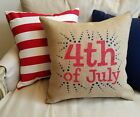 Red, White & Blue 4th OF JULY Burlap Pillow Cover - Various Sizes and Styles