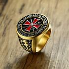 Knights Templar Mens Cross Ring with Cubic Zirconia Male Stainless Steel Masonic