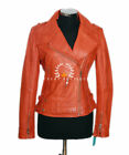 Amelia Orange Ladies New Retro Biker Real Waxed Lambskin Leather Fashion Jacket