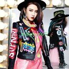 Womens Fashion Multicolor Punk Leather Motorcycle Jacket Graffiti Street Coats