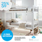 Europa Barcelona 3FT x 5FT3 Short Single White Wooden Bunk Bed