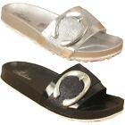 New Ladies Glittery Flip Flop Strap Buckle Sandal Sipper Open Toe Slip On UK 2-6