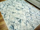 Intrend Blue Cream Triangles Washed Out Design 14mm Thick Floor Area Rugs