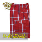 Shaka Mens Casual Cargo Shorts 5 Pocket Active Drawstrings Plaid Shorts Hip Hop