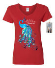 Womens V Neck Shirt Top Born To Stand Out Peacock