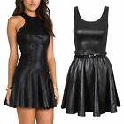 Womens PVC Faux Leather Wetlook Belted Skater Dress Ladies Stretch Shiny Tops