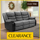 BELFAST 3 Seater Grey Electric Faux Suede Power Recliner Sofa CLEARANCE