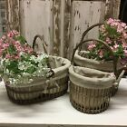 Linen Lined Wicker Basket Floral Dispaly Storage Vintage Lace French Chic Handle