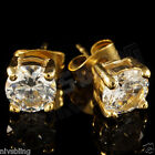 18k IP Gold Plated Stainless Steel Silver Iced Out Round Clear CZ Stud Earrings