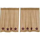 Natural Burlap W/Burgundy Stars Cotton Country Window Cafe Tiers (2) Sizes