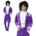 80s Purple Musician Costume Prince Rain Celebrity Adult Mens Fancy Dress Outfit