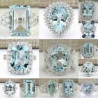 Large Women Jewelry 925 Silver Aquamarine Gemstone Wedding Bridal Ring Size 6-10