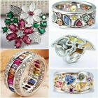 Fashion Silver Plated Multi-Color Sapphire Gem Ring Women Bridal Jewelry Sz 6-10 image