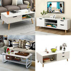 Retro Wooden Coffee Table Tv Cabinet White Tea Side End Shelf Storage Stand Home