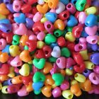 200 - 500 Heart Shaped Acrylic Beads. 4mm hole. Multi-coloured. Craft/Jewellery